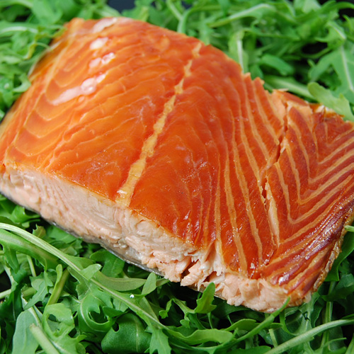 Smoked salmon with roasted courgette slices