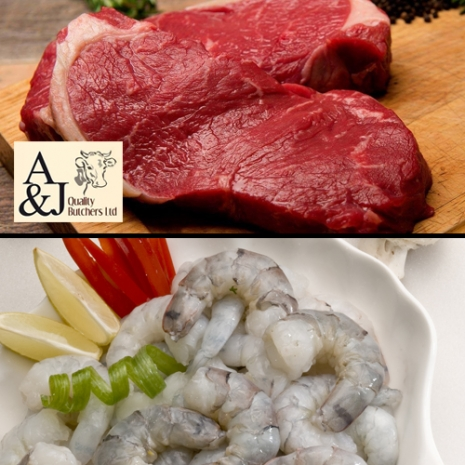 2 x 8oz Sirloin Steaks and 700g peeled King Prawns